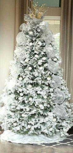 white flocked winter tree, white satin ribbing and tiny silver/ white ...