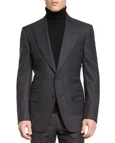 Windsor+Base+Windowpane+Two-Piece+Suit,+Gray+by+TOM+FORD+at+Neiman+Marcus.