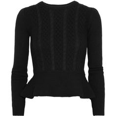 Valentino Wool and cashmere-blend peplum sweater (1 305 AUD) ❤ liked on Polyvore featuring tops, sweaters, valentino, jumper, wool jumper, wool cable sweater, peplum sweater, woolen jumper and valentino sweaters