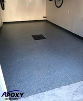 Flakes Epoxy // Garage floor • •  What do you think of our work? Call us to ...   - DIY and C... Garage Floor Coatings, Garage Floor Epoxy, Epoxy Floor, Tile Floor, Glitter Floor, Wood Storage Box, Diy Epoxy, Walnut Table, Flakes