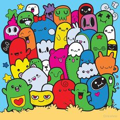 Funny monsters ,Cute Monster pattern for coloring book. Black and white background. Vector illustration black and white Funny monsters ,Cute Monster pattern for coloring book. Black and white background. Cute Monsters Drawings, Funny Monsters, Cartoon Monsters, Wallpaper Doodle, Graffiti Wallpaper, Monster Sketch, Hand Doodles, Graffiti Doodles, School Murals