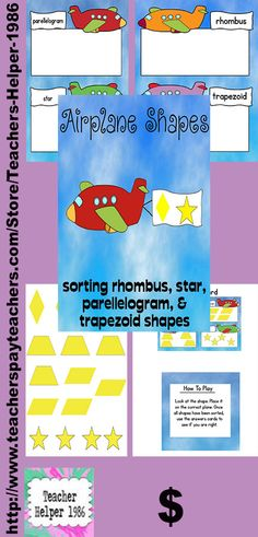 Airplane shapes is an exciting math file folder game that your students will love! This activity will help students practice identifying rhombuses, parallelograms, trapezoids, and stars. This file folder is in full color so all that you need to do is print, assemble and play! There are six pages in this product.