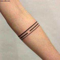 Simple Solid Armband Tattoo On Men Sleeve