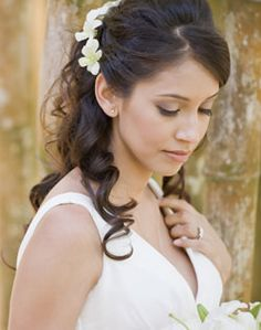 WeddingChannel Galleries: Curly Half Updo Hairstyle With Flowers