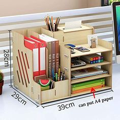 Desk Organization Diy, Diy Desk, Diy Storage, Wooden Desk Organizer, Study Room Decor, Cardboard Crafts, Home Room Design, Diy Home Crafts, Home Office Decor
