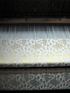 Damascus, Syria. Hand loom Damascene silk brocade weaving. Some of the looms have been in their families for 250 years