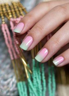 manucure ombrée, nail art pour ongles dégradés