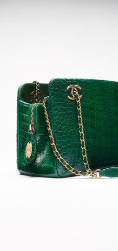 Small alligator shopping bag embellished... - CHANEL