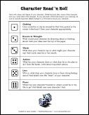 Character Read and Roll Activity freebie