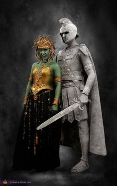 Medusa and Stone Soldier - 2014 Halloween Costume Contest via @costume_works