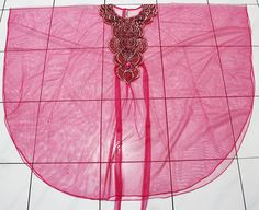 Unique EMBROIDERY glitter boho valance sheer chiffon ROYAL PINK moroccan caftan tunic dress. $34.99, via Etsy.