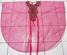 Unique EMBROIDERY glitter boho valance sheer chiffon ROYAL PINK moroccan caftan tunic dress. $34.99, via Etsy.