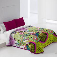 Colcha Bouti SPRING. Colores verde, morado, turquesa, negro...alegra tus dormtorios con nuestra Colcha de Cama favorita!