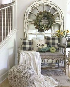 Entryway: foyer decorating ideas ideas for stunning farmhouse entryway decorating ideas 45 farmhousedecor - Shabby Chic Vintage, Shabby Chic Homes, Shabby Chic Decor, Vintage Decor, Vintage Ideas, Living Room Designs, Living Room Decor, Living Rooms, Bedroom Decor