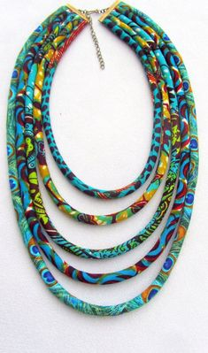 Turquoise necklace, african fabric necklace,  African wax print ,  Bohemian necklace, Tribal necklac