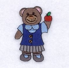 Teacher Bear - 4x4   What's New   Machine Embroidery Designs   SWAKembroidery.com Starbird Stock Designs