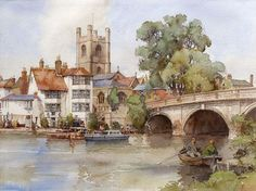 """Henley on Thames"" By Eric R. 29 x in - © Baron Fine Art, Chester, Cheshire, UK Watercolor Sketch, Watercolor Landscape, Landscape Drawings, Landscape Art, New Artists, Famous Artists, Gouache Painting, Watercolor Paintings, Watercolors"