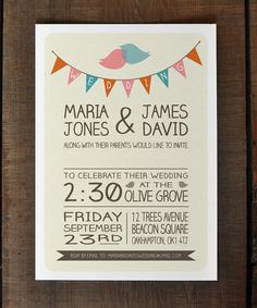 Love the font and style, not lovebirds  Lovebirds - Bunting - Wedding Invitation Suite - Printable DIY Option