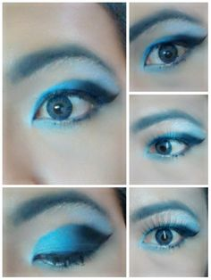 Smokie blue eye shadow with blue softlens