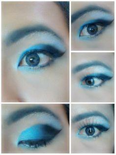 Smokie blue eye shadow with blue softlens