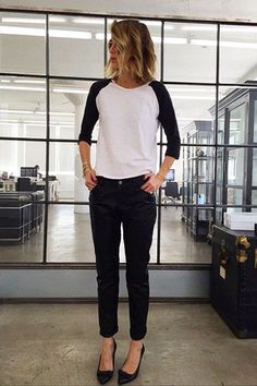 Dress up your raglan baseball tee with black pants and pointed pumps. For a day of errands, throw on low top sneakers for a sporty chic vibe.