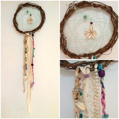 This is a handcrafted dream catcher that is about 8in in diameter and 2ft in length.   The hoop is made from tree branches and in the center there is a white web with a shell pendant and wooden bead. There is an assortment of fabrics, ribbons, and lace hanging from the dream catcher.  Each dream catcher is an original piece of art so your dream catcher will be one of a kind!