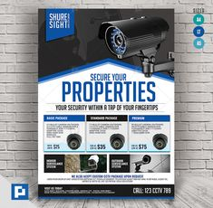 This CCTV Camera Store Flyer Design has been develop to boost your marketing campaign. Flyer Design Templates, Psd Templates, Promo Flyer, Cctv Security Systems, Camera Store, Cctv Surveillance, Marketing Opportunities, Bullet Camera