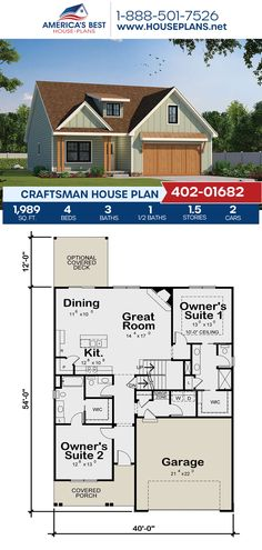 Crafted with awesome Craftsman details, Plan 402-01682 offers 1,989 sq. ft., 4 bedrooms, 3.5 bathrooms, split bedrooms, two masters, a kitchen island, an open floor plan, and a bonus room. #craftsman #architecture #houseplans #housedesign #homedesign #homedesigns #architecturalplans #newconstruction #floorplans #dreamhome #dreamhouseplans #abhouseplans #besthouseplans #newhome #newhouse #homesweethome #buildingahome #buildahome #residentialplans #residentialhome Log Cabin Floor Plans, Cottage Floor Plans, Cottage House Plans, Craftsman House Plans, Cottage Homes, House Floor Plans, Southern House Plans, Family House Plans, Best House Plans