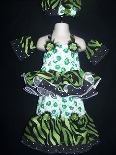 Pageant Casual Wear St Patrick Day Shamrock Zebra Dots 12 18mth 7pc | eBay