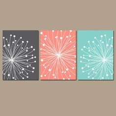 awesome DANDELION Wall Art CANVAS or Prints Gray Coral Aqua Bedroom Pictures Bathroom Ar... by http://www.best99-home-decor-pics.club/home-decor-colors/dandelion-wall-art-canvas-or-prints-gray-coral-aqua-bedroom-pictures-bathroom-ar/