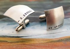 Custom Hand Stamped Cufflinks - Personalized Cufflinks - Round Stamped Cufflinks - Your Name, Quote - Personalized Stamped Cufflinks Latitude Longitude, Custom Ties, Hand Art, Engagement Gifts, Photo Jewelry, Leather Cuffs, Personalized Jewelry, Gifts For Him, Hand Stamped