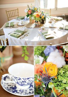 I love the yellow, coral and orange roses and the sage green napkins   Gorgeous Vintage Inspired Baby Shower