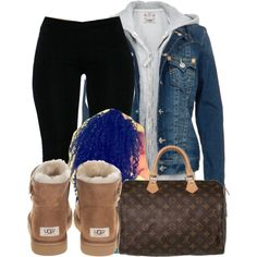 UGG BOOTS, A fashion look from October 2014 featuring True Religion, UGG Australia ankle booties and Louis Vuitton tote bags. Browse and shop related looks. Lazy Day Outfits, Cute Swag Outfits, Chill Outfits, Summer Outfits, Casual Outfits, Teen Fashion, Fashion Outfits, Fashion Trends, Fashion Boots