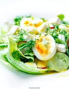 {Salad with Feta cheese, Eggs and Watercress} Sałatka z jajkiem i fetą - Przepis Clean Recipes, Cooking Recipes, Pasta Lunch, A Food, Food And Drink, Vegetarian Recipes, Healthy Recipes, Healthy Foods, Feta