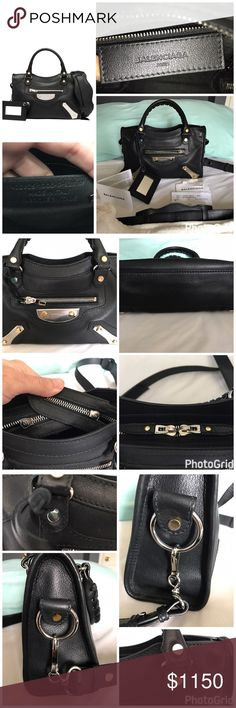 "Balenciaga Mini City Amp Plate in Black Color Authentic!! Balenciaga Mini City Amp Plate in Black Color, Almost Like New. Still have some plastic protector on hardware. Size 9"" x 6.2"" x 3.5"". Palladium metal plate and gold flat metal studs. Dust bag and authenticity card included. No Trade!! Cheaper on PayPal. Balenciaga Bags Mini Bags"