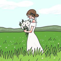 사진 설명이 없습니다. Korean Illustration, Cute Illustration, Kawaii Wallpaper, Flower Phone Wallpaper, Cute Art Styles, Special Images, Aesthetic Drawing, Cute Cartoon Wallpapers, Anime Art Girl