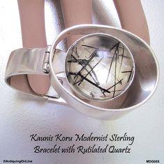 Kaunis Koru Modernist Sterling Silver Hinged Bracelet with Rutilated Quartz…