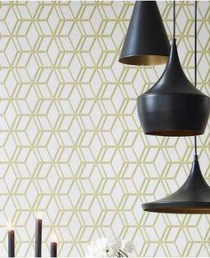 31-619 Steve Leung Ling Beige,Green Geometric Wallpaper | Graham & Brown