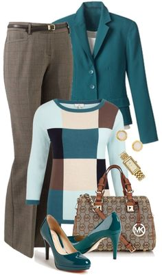 """Turquoise and Brown Work Wear"" by tajarl on Polyvore"