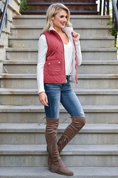 Change Is Good Reversible Sherpa Vest - Rose - Closet Candy Boutique Sable Wwe, Candy Boutique, Change Is Good, Get The Look, Vest, Denim, High Boots, How To Wear, Jackets