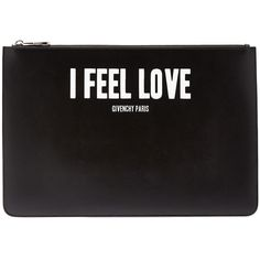 """Givenchy """"I Feel Love"""" Large Pouch ($710) ❤ liked on Polyvore featuring bags, handbags, clutches, black, givenchy purse, black clutches, pouch handbags, pouch purse and black handbags"""