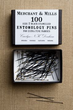 Entomology Pins from Merchant & Mills: Spare the butterflies and use these ultrafine black pins for your silks and delicate textiles! The finest, blackest pins known to humankind, these Entomology Pins are irresistible! Each pin is 1 1/2 inches long and each box contains 100 pins. $12.00