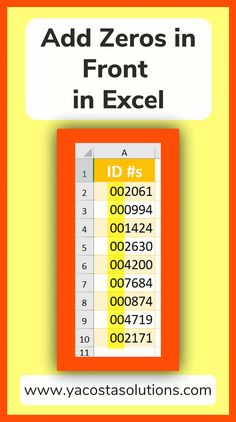 3 Ways to add a zero in front of a number in Excel. It can be tricky to add a leading zero in Excel without having the zero disappear. Step by step instructions + video tutorial. Computer Lessons, Computer Programming, Computer Tips, Computer Keyboard, Microsoft Excel Formulas, Microsoft Office Online, Excel Hacks, Tech Hacks, Data Science