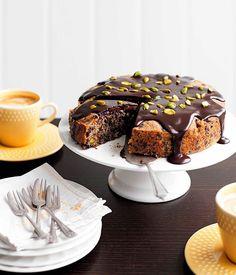 Australian Gourmet Traveller recipe for dark chocolate, pear and pistachio cake from Tartine in Armadale, Victoria