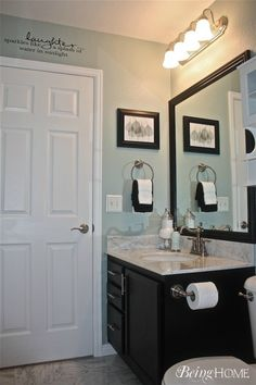 bathroom. Light blue with dark fixtures <3