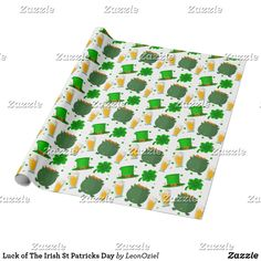 Shop Luck of The Irish St Patricks Day Wrapping Paper created by LeonOziel. Green Beer, Luck Of The Irish, Custom Wrapping Paper, Diy Party, Best Part Of Me, St Patricks Day, Colorful Backgrounds, Saints, Wraps