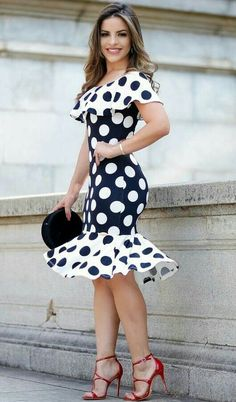 Black, and White polka dot dress Kanyget fashions + Trendy Dresses, Cute Dresses, Beautiful Dresses, Casual Dresses, Prom Dresses, Summer Dresses, Dress Prom, Dress Wedding, Kohls Dresses