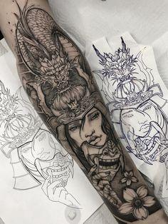 Warrior Tattoo Sleeve, Samurai Tattoo Sleeve, Egyptian Tattoo Sleeve, Dragon Sleeve Tattoos, Forearm Sleeve Tattoos, Warrior Tattoos, Best Sleeve Tattoos, Tattoo Sleeve Designs, Geisha Tattoo Sleeve