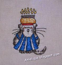 chef cat, cake, sweet, cross stitch
