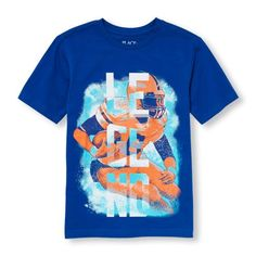 s Boys Short Sleeve Football Player 'Legend' Graphic Tee - Blue T-Shirt - The Children's Place